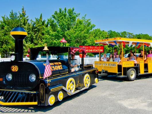 Ocean View Resort tram car makes getting around the campground easy and fun!